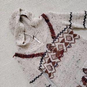 Free People Tribal Aztec Hoodie Bohemian Sweater